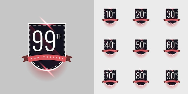 Set of years anniversary celebration illustration template