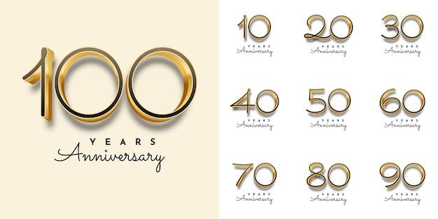 Набор лет юбилей золотой номер шаблон иллюстрации