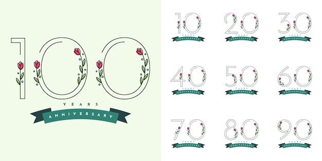 Set of years anniversary with flowers illustraion template