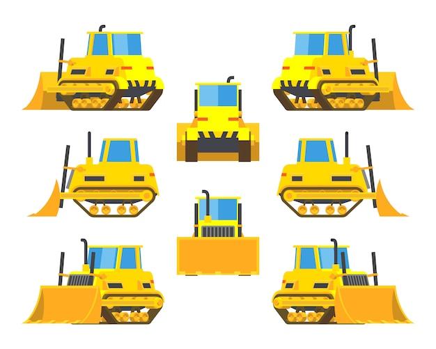 Set of the yellow bulldozers