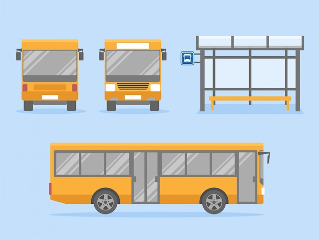 Set of yellow city bus with front side and back view with bus stop station