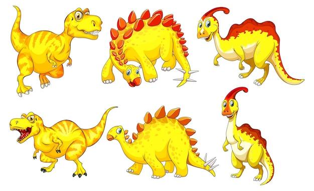 Set of yellow dinosaur cartoon character