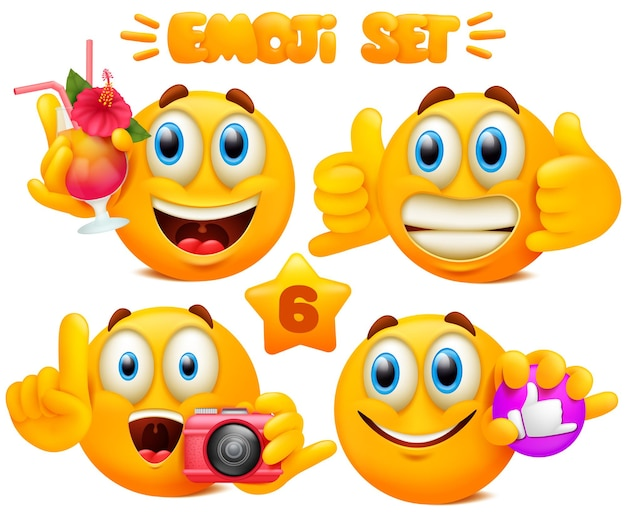 Set of yellow emoji cartoon characters with different facial expressions in glossy 3d