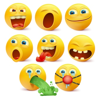 Set of yellow emoji characters with different emotions.