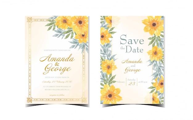 Set of yellow floral wedding invitation with daisy flowers