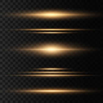 Set of yellow horizontal lens flares pack. laser beams, horizontal light rays. beautiful light flares. glowing streaks on dark background. luminous abstract sparkling lined background.