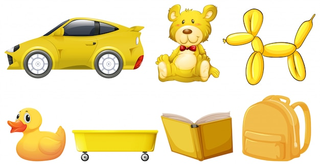 Set of yellow objects