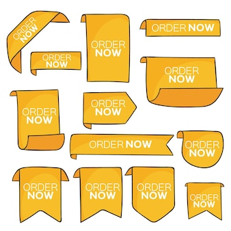 Set of yellow order now labels