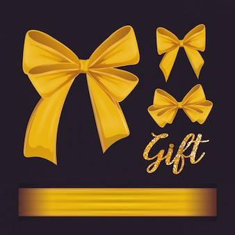 Set of yellow ribbons bowties decoration