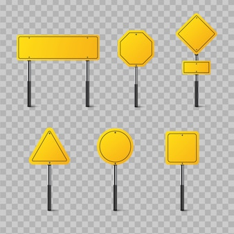 Set of yellow road signs isolated on transparent