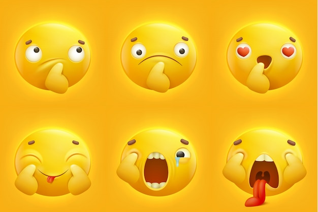 Set yellow smile emoji emoticon icons
