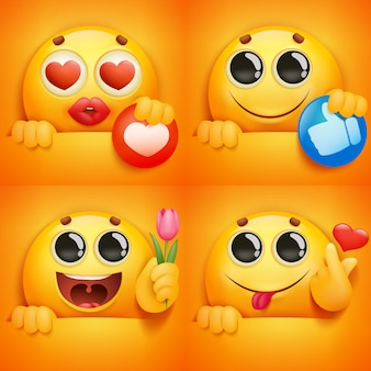 Set of yellow smiley face emoji characters in various emotions and situations