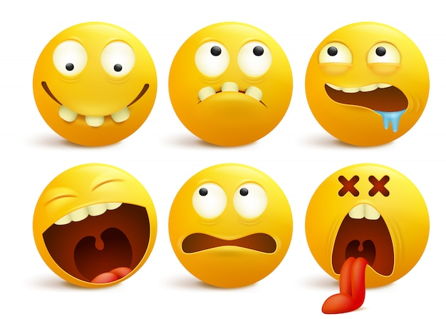 Set of yellow smiley face emoticon cartoon characters.