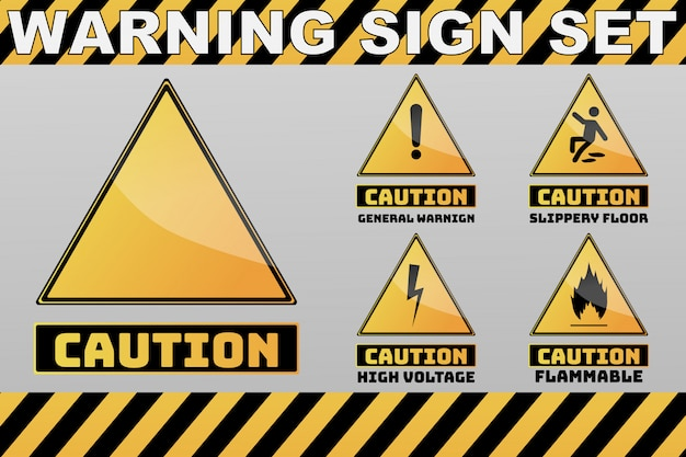 Set of yellow warning, caution and prohibition sign