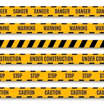 Set of yellow warning tapes.   illustration.