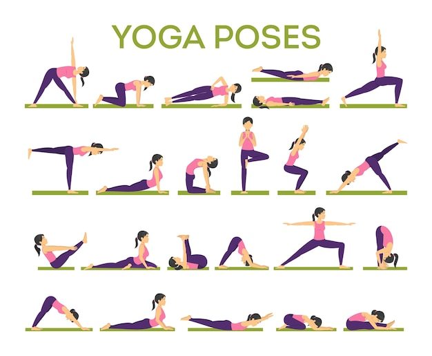 Set of yoga asana for men and women