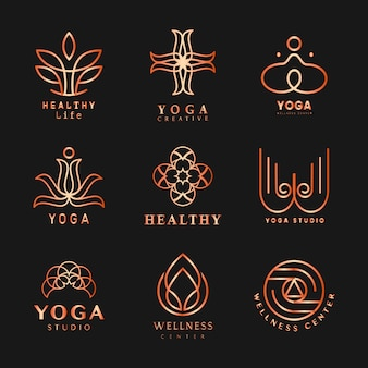 Set of yoga logo vector