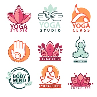 Set of yoga and meditation logo set