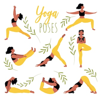 Set of yoga poses. young woman practicing yoga. relaxation, concentration, healthy lifestyle. set of  illustrations in cartoon style isolated on white.