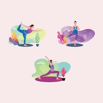 Set yoga woman for fitness