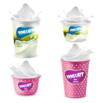 Set of yogurt plastic pots with splashes