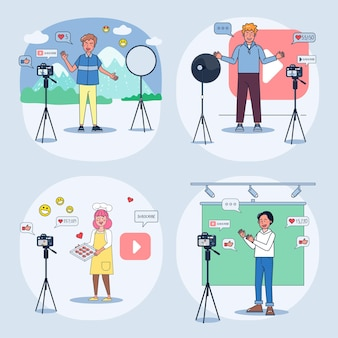 Set of young bloggers shooting videos Premium Vector