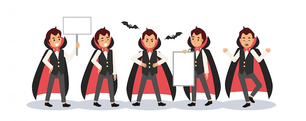 Set of young boy in dracula vampire costume for halloween festival. a boy holding blank sign.
