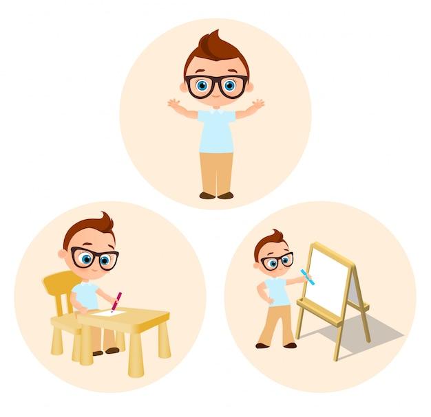 ホワイトボードを描画 - 若い男の子 - 学校の机に座って塗料を設定します。
