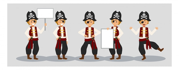 Set of young boy in pirate costume for halloween festival. a boy holding blank sign.