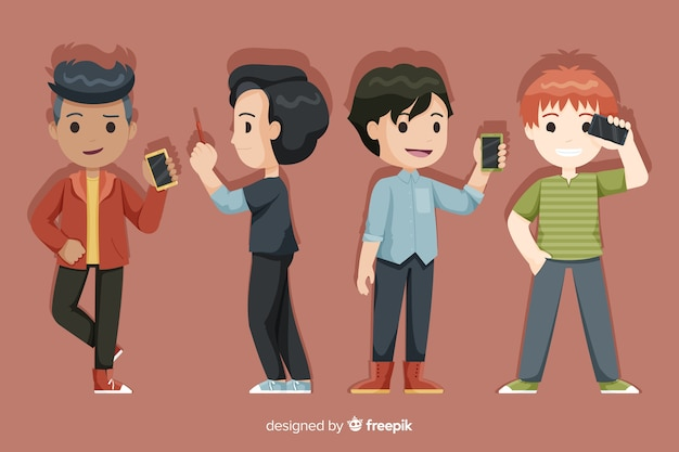 Set of young boys holding smartphones