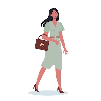 Set of young business character on their way. female character walking and holding a briefcase. successful employee, achievement concept.