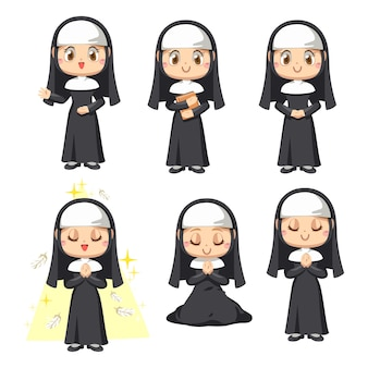Set of young catholic priest female preaching