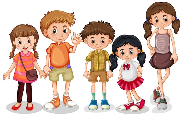 Set of young children character