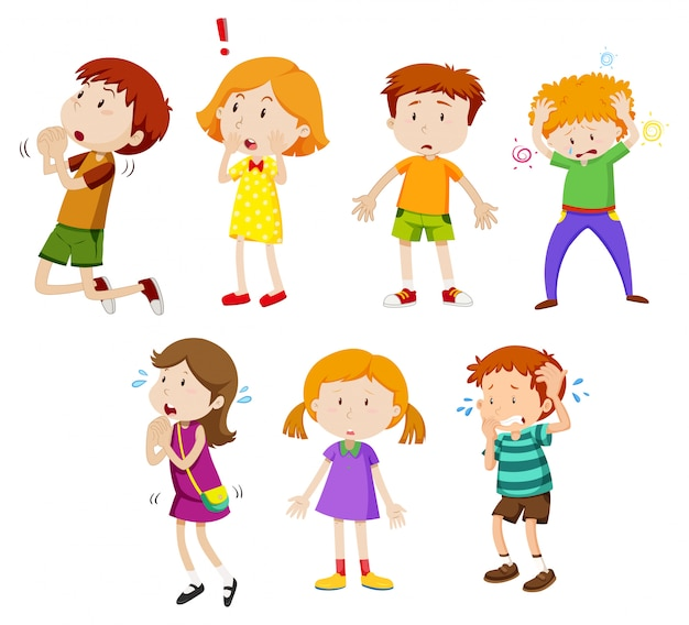 A set of young children expression