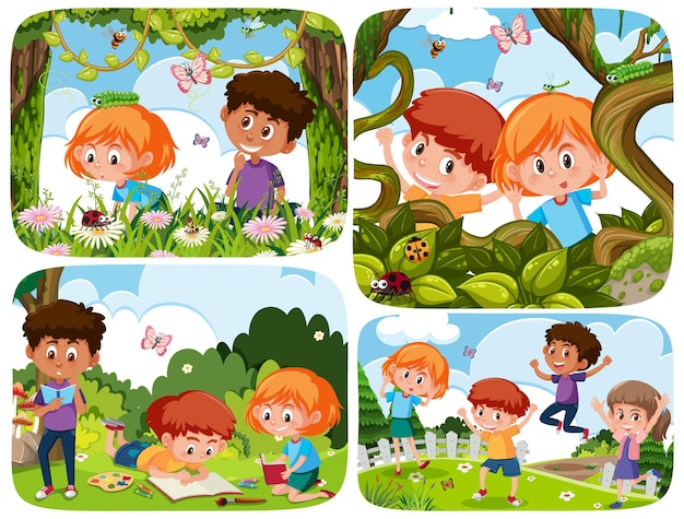 Set of young children in nature