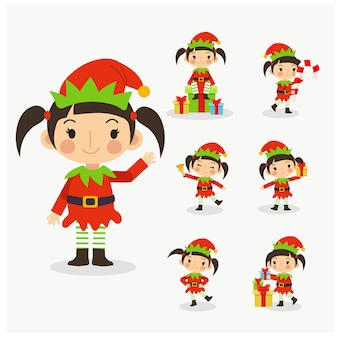 Set of young cute christmas elf girl