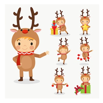 Set of young cute little boy in reindeer christmas costume