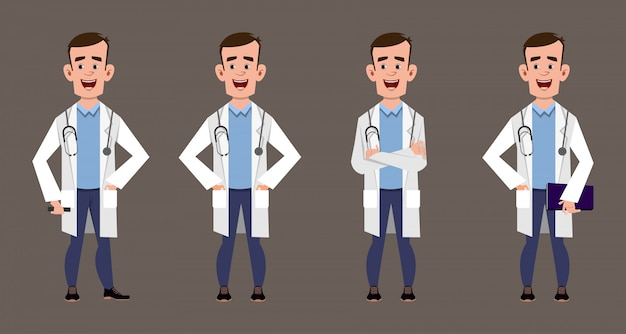 Set of young doctor cartoon characters medical staff pose