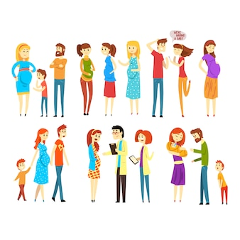 Set of young families. cartoon people expecting baby born. pregnant women. girl at doctor s reception. mother, father and child. parenthood.
