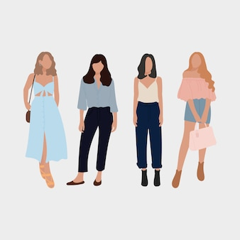 Set of young fashion women, stylish girls. flat design. vector illustration.