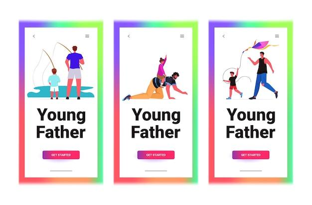 Набор молодых отцов, проводящих время с детьми, концепция отцовства и воспитания горизонтальных