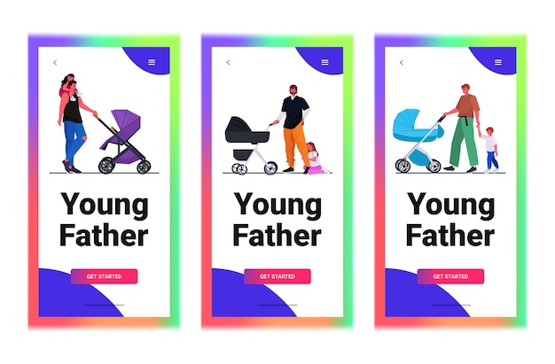 Set young fathers walking outdoor with children fatherhood parenting concept dads spending time with kids horizontal