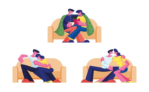 Set of young loving couple characters spend time at home sitting on couch chatting, drinking tea, reading book on weekend. cartoon illustration