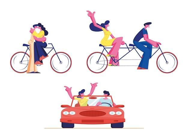 若い愛情のあるカップルに乗るタンデム自転車と車を設定します。漫画イラスト