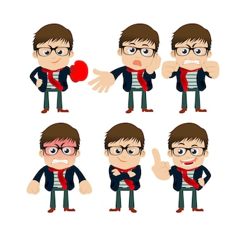 Set of young man characters in different poses