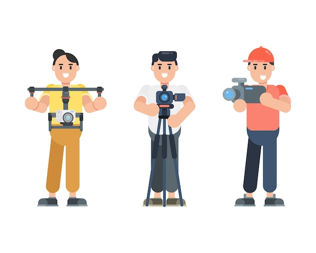 Set of young man characters holding camera. photographer, cinematographer, vlogger characters in flat style.