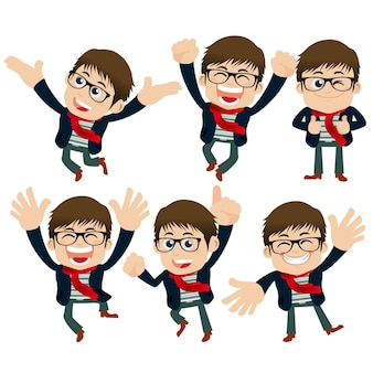 Set of young man characters with different poses.