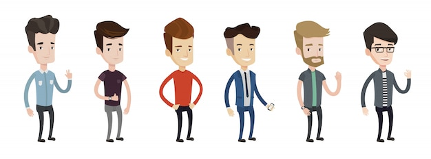 Set of young man illustrations.