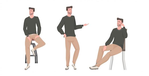 Набор молодой человек в разных позах мужской мультипликационный персонаж коллекция полная длина горизонтальный