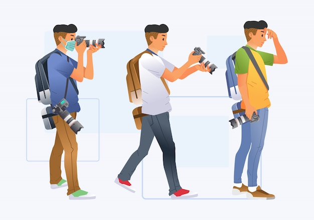 Set of young man photographer with different pose and clothes bring digital camera and backpack illustration. used for poster, website image and other